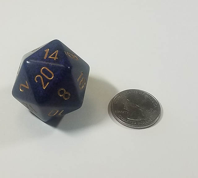 Speckled Golden Cobalt 34mm d20