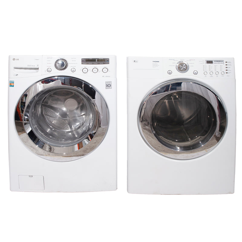 LG 27'' Front Load Stackable Laundry Pairs WM2650HWA and DLE3777W White