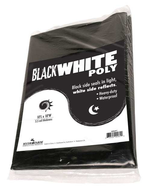 Black White Poly, 10' x 10', 5.5 mil