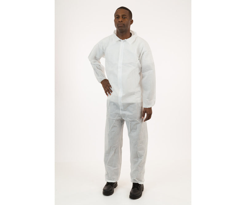 International Enviroguard White SMS Coverall with Elastic Wrist & Ankle, Size Medium, case of 25