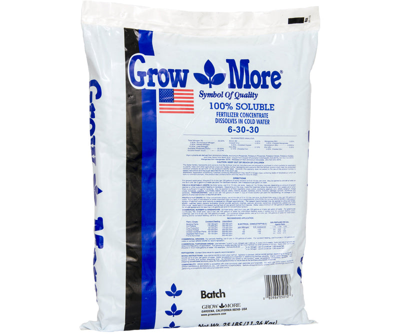 Grow More Soluble 6-30-30 Standard, 25 lbs
