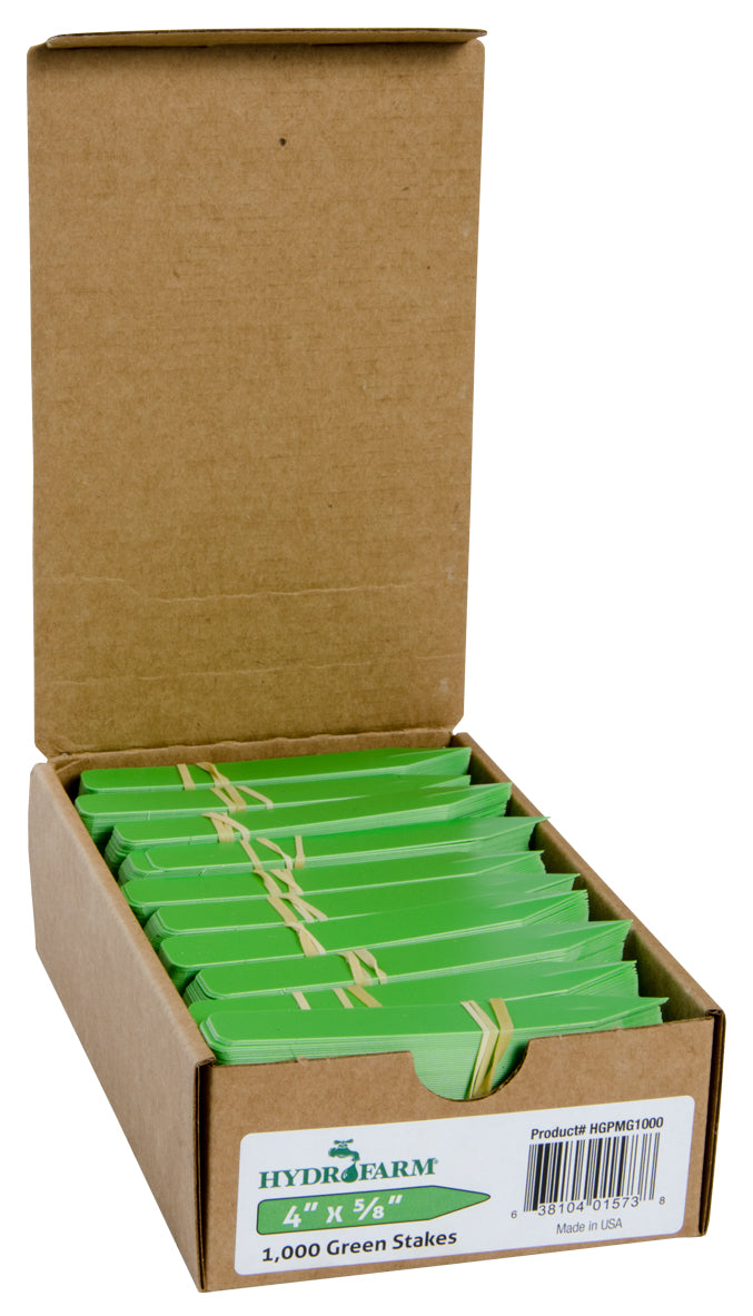 "Hydrofarm Plant Stake Labels, Green, 4"" x 5/8"", case of 1000"