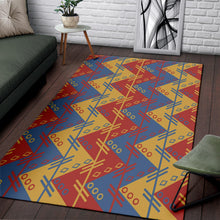 Load image into Gallery viewer, Zigzag Design in Muted Red, Blue and Yellow Area Rug
