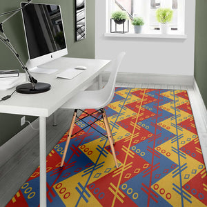 Zigzag Design in Muted Red, Blue and Yellow Area Rug