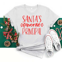Santas favorite principal shirt, principal shirt,  best teacher gift, gift for her, gift for teacher, teachers gift, Christmas gift for principal, fun teacher gift