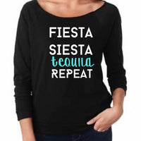 Fiesta Siesta tequila repeat Shirt| Off the shoulder Siesta shirt| Fiesta shirt| Cinco de mayo shirts| off the shoulder shirt| party shirt