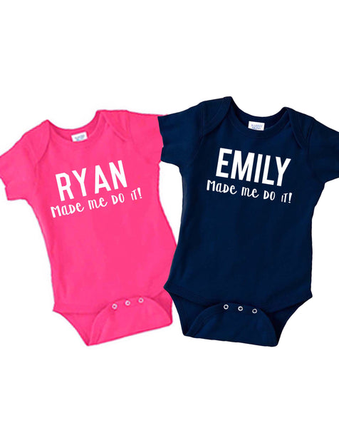 Twin shirt set| Twin name shirts  Baby name onesie| Baby shower gift| Gift for twins| gift for new mom| personalized baby onesie| twin set