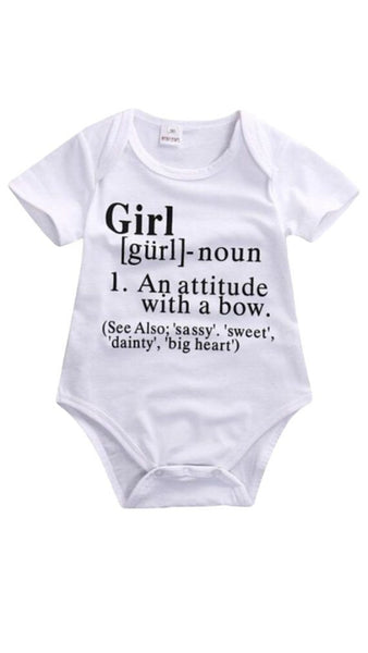 Definition of a girl baby shirt| girl romper| bow girl shirt| gender reveal shirt| baby announcement shirt| cute baby girl shirt| baby shirt