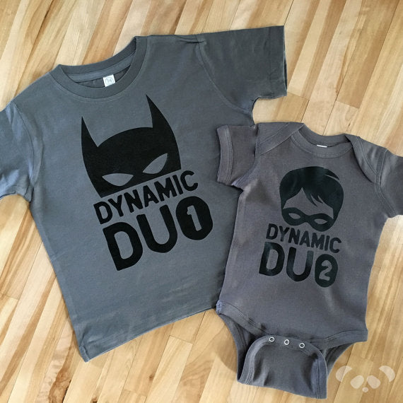 Dynamic duo shirts, super brothers, big and little shirt, pregnancy announcement, brothers shirt, superhero brothers shirt, batman brothers