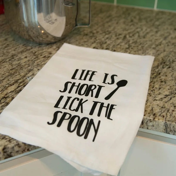 Funny tea towel, Life is short lick the spoon, personalized new home gift, tea towels, new home owners gift, personalized tea towel, monogrammed tea towel