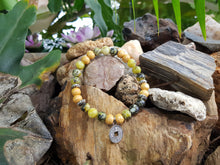 Load image into Gallery viewer, Grass Turquoise and Wood 8mm Natural Gemstone Bracelet