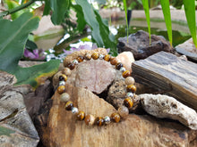 Load image into Gallery viewer, Tiger Eye and Picture Jasper 8mm Natural Gemstone Bracelet