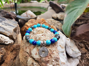 Turquoise Howlite, Hematite and Mountain Jade 8mm Natural Gemstone Bracelet