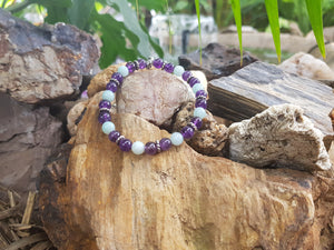 Amethyst and Amazonite 6mm Natural Gemstone Bracelet
