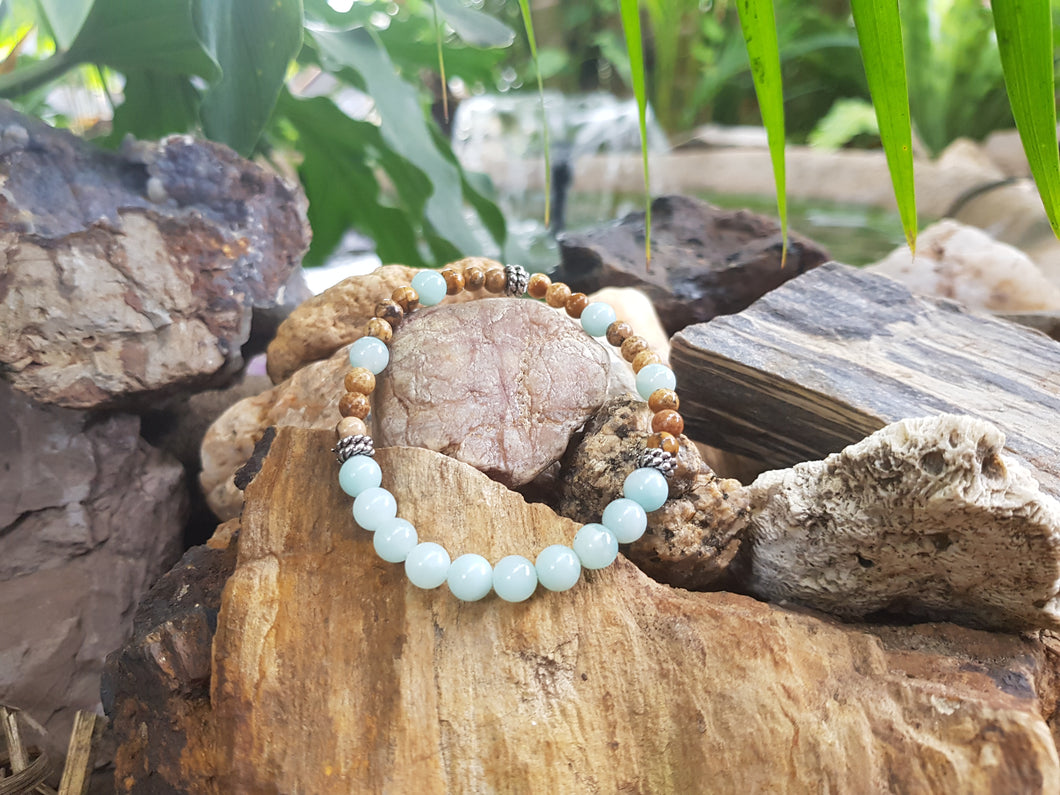 Picture Jasper 4mm and Amazonite 6mm Natural Gemstone Bracelet