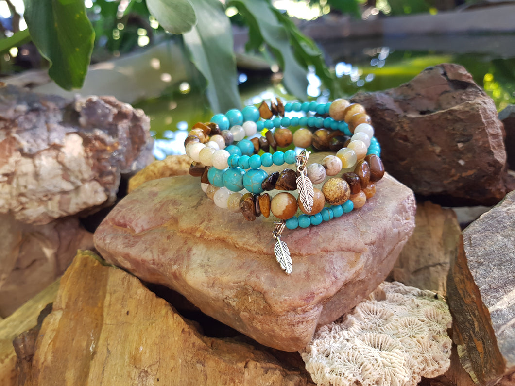 Picture Jasper, Turquoise Howlite, Bamboo Agate and Tiger Eye Natural Gemstone Memory Wire Bracelet