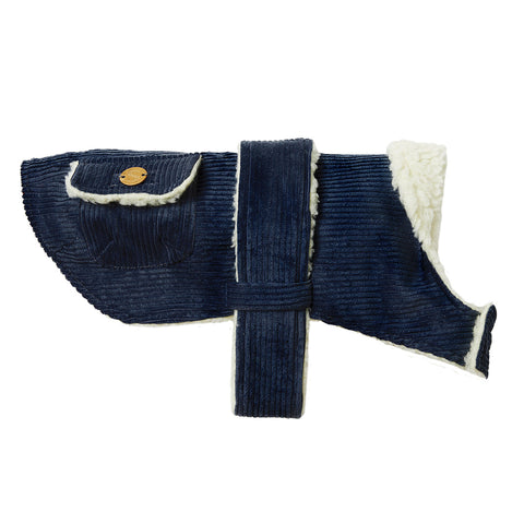 Corduroy Dog Coat - Indigo
