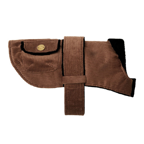 Corduroy Dog Coat - Toffee/Black