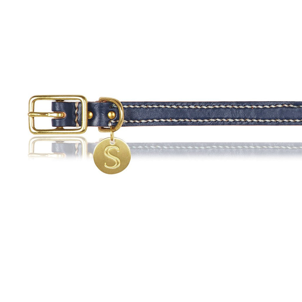 navy leather dog collar