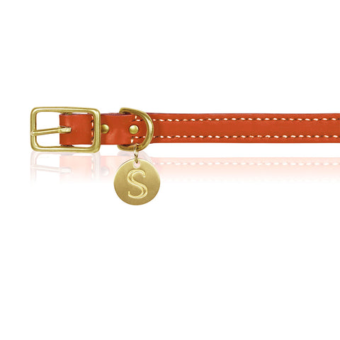 Leather Dog Collar - Orange