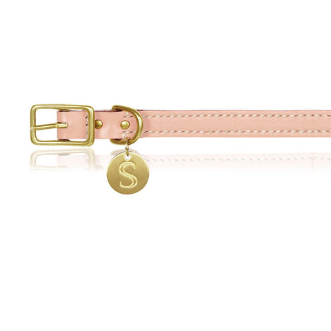 pink leather dog collar
