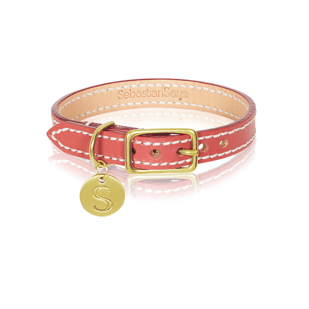 Leather Dog Collar - Terracotta Red