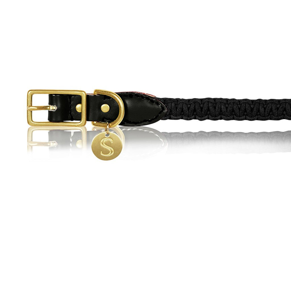 sebastian says dog collar macrame leather black