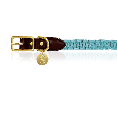 Macramé/Leather Dog Collar - Blue