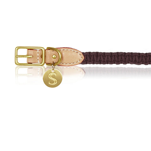 Macramé/Leather Dog Collar - Brown