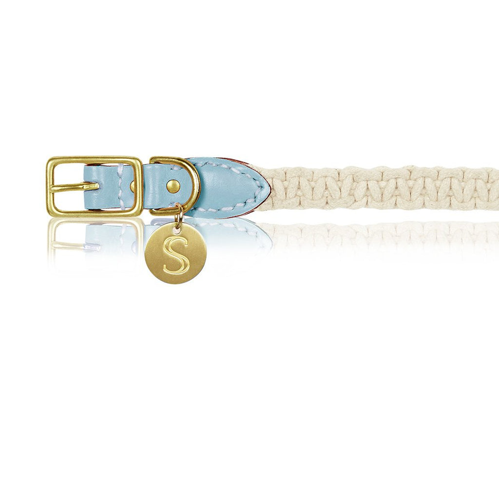 sebastian says dog collar macrame leather ice blue