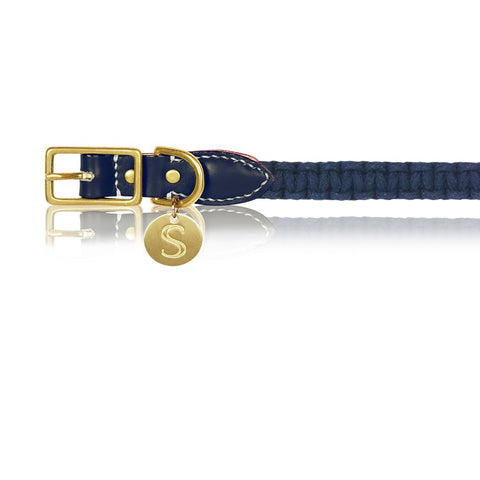 sebastian says dog collar macrame leather indigo