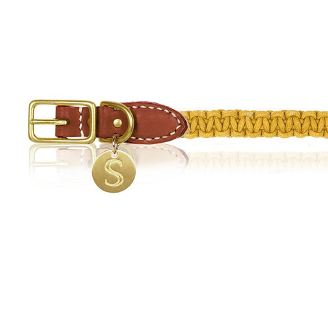 Macramé/Leather Dog Collar - Mustard