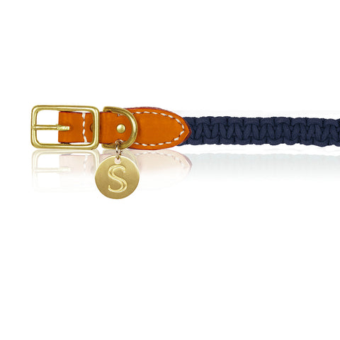 Macramé/Leather Dog Collar - Orange/Indigo