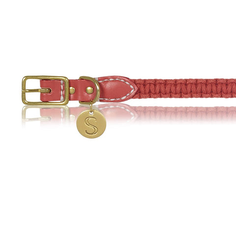 sebastian says dog collar macrame leather red