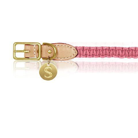 Macramé/Leather Dog Collar - Rose Pink