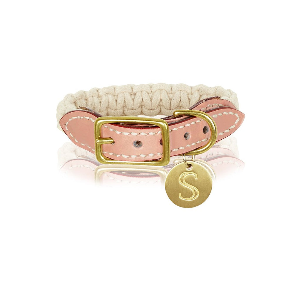 sebastian says dog collar macrame leather soft pink