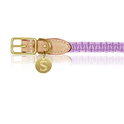 Macramé/Leather Dog Collar - Violet