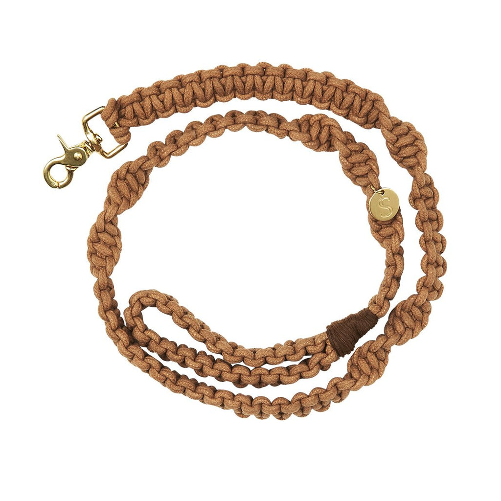 sebastian says dog lead leash macrame biscuit gold