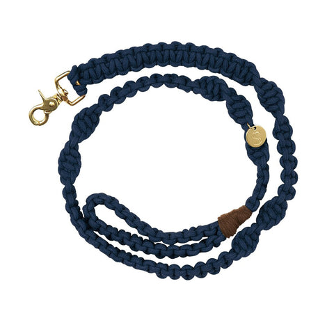 sebastian says dog lead leash macrame indigo gold