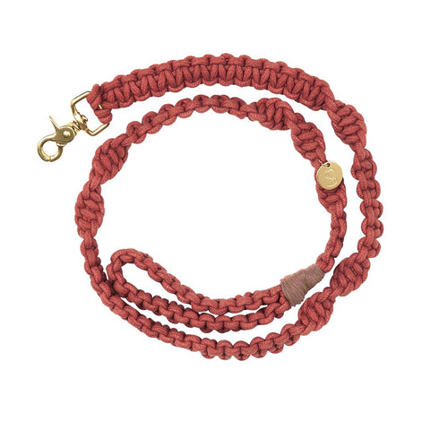 sebastian says macrame dog lead leash red gold