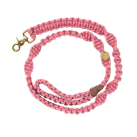Macramé Originals Dog Lead - Rose Pink