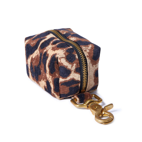 Corduroy Poop Bag Holder - Leopard
