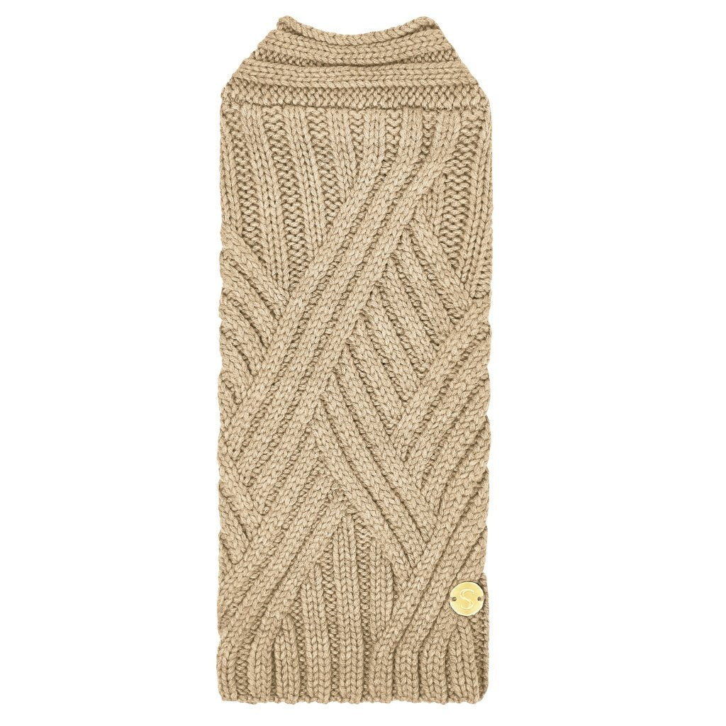 Merino Wool Weave Knit Dog Sweater - Oat