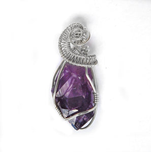 Raw Amethyst pendant, sterling wire wrapped, chakra gemstone necklace, purple crystal gemstone, gift