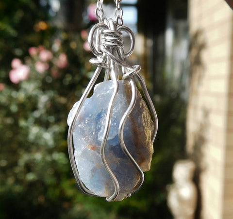 Large Blue Calcite pendant, Calcite raw gemstone, Sterling silver wire wrapped pendant, large chakra necklace
