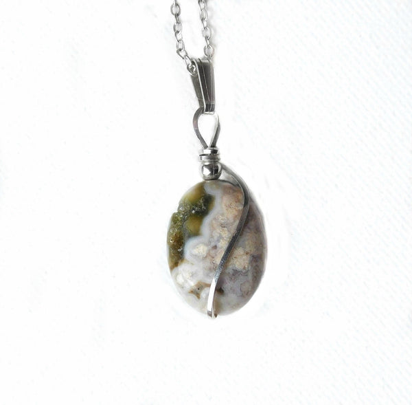 Ocean Jasper pendant, natural gemstone, Sterling silver wire wrapped pendant