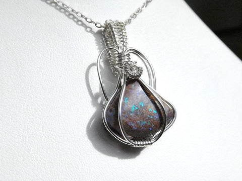 Matrix Opal  pendant, Andamooka fairy opal, green blue sparkle Sterling silver wire weave wrapped pendant