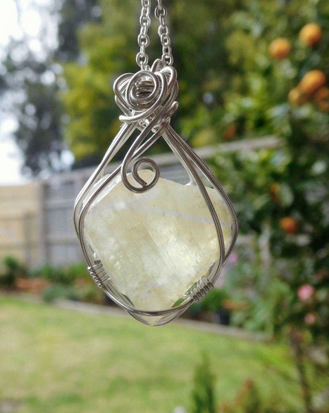 Large Green Calcite pendant, natural raw gemstone, Sterling silver wire wrapped pendant, natural gemstone necklace