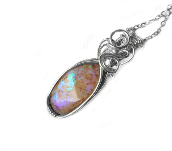 Andamooka Matrix Opal pendant, purple green pinfire sterling silver wire wrapped pendant, unique opal