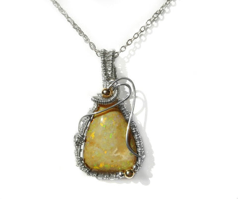 Andamooka Matrix Opal, pendant green pinfire sterling silver wire wrapped pendant